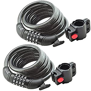 Lumintrail Bike Cable Lock 6 ft Self Coiling 12mm Braided Steel Cable Resettable Combination Cable Lock with Included Mounting Bracket (2 pack)