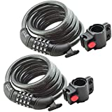 Lumintrail Bike Cable Lock 6 ft Self Coiling 12mm Braided Steel Cable Resettable Combination Cable Lock with Included Mounting Bracket (2 pack) Review