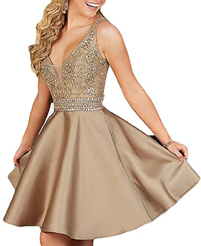 Hatail Women Beaded Cocktail Homecoming Dress Short Double V Neck Prom (Beaded Short Dress Cocktail Dress)