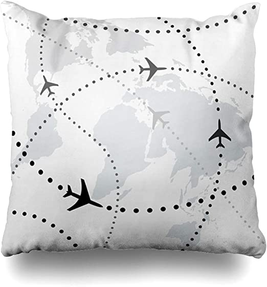 Airplane Pillow Air Traffic Navy Decorative Airplane Map Accent Throw Pillow