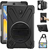 Gzerma for Samsung Galaxy Tab A 8.0 SM-T387 Case 2018 Kids Proof with Kickstand and Strap, Rugged Hard PC Silicone Cover + Handle + Shoulder Holder for Samsung Tab A 8 Inch T387V Verizon Tablet, Black