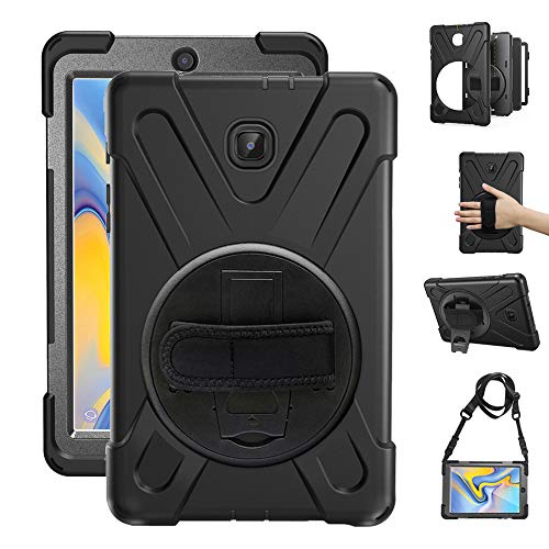 Gzerma Case for Samsung Galaxy Tab A 8.0 SM-T387 Case 2018 Kids Proof with Kickstand, Strap and Shoulder Holder Rugged Hard PC Silicone Cover for Samsung Tab A 8 Inch T387V Verizon Tablet, Black (2 Case Samsung Tab Verizon)