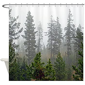 Cafepress misty forest decorative fabric for Forest green curtains drapes