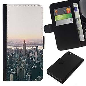 All Phone Most Case / Oferta Especial Cáscara Funda de cuero Monedero Cubierta de proteccion Caso / Wallet Case for HTC DESIRE 816 // York Aerial View Sunrise
