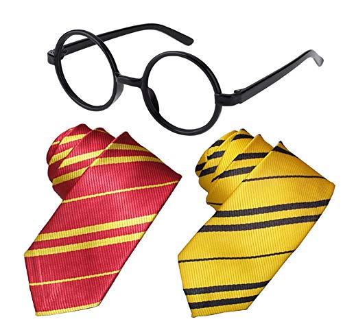 Tie Costume Striped Necktie Halloween Cosplay Party Supplies Accessories for Kids and Adults (Tie and Glasses Set)]()
