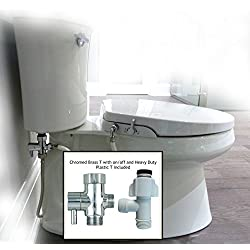 GenieBidet Seat - Dual Self Cleaning Nozzles Sleek Style - Elongated Bidet Seat. No wiring required which enables a simple 30-45 minute installation or less.