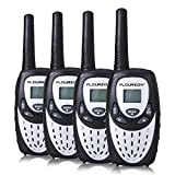 FLOUREON 4 Packs Walkie Talkies Two Way Radios 22 Channel 3000M (MAX 5000M Open Field) UHF Long Range Handheld Talkies Talky (Silver)