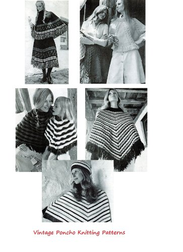 Amazon Vintage Knitted Poncho Patterns Knitting Patterns For