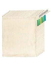Bolsas reutilizables para productos | Malla de algodón natural biodegradable | Lavable a máquina y apto para secadora | Peso de tara en etiqueta | Costuras dobles, Natural, Mediano, 1