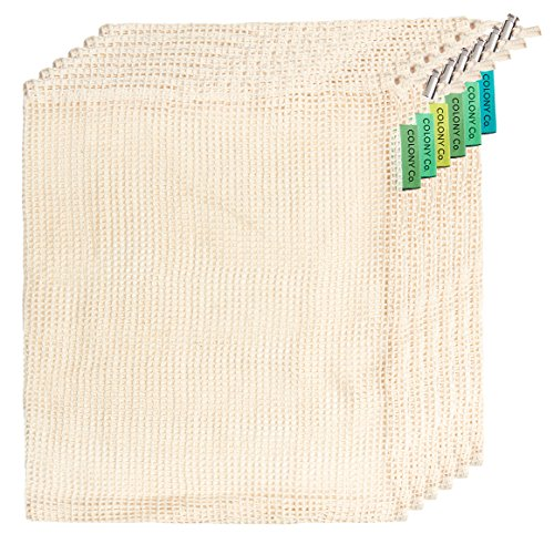 Colony Co. Reusable Produce Bags, Natural Unbleached Cotton, Recyclable Plastic-Free Packaging, Machine Washable, Durable, Double-Stitched Seams, Tare Weight on Label, Set of 6, Medium (13x11 inches)