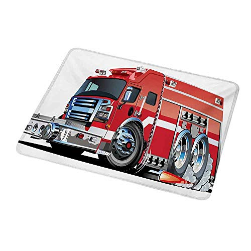 Gaming Mouse Pad Custom Cars,Big Fire Truck with Emergency Equipments Universal Safety Rescue Team Engine Cartoon,Red Silver,Non-Slip Personalized Rectangle Mouse pad 9.8