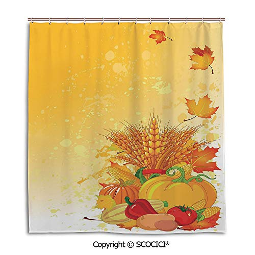 - Creative Bathroom Curtain Separation Door Curtain bath curtain,66X72in,Harvest,Vivid Festive Collection of Vegetables Plump Pumpkins Wheat Fall Leaves Decorative,Earth Yellow Green Red,Used for bathi