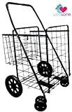 push cart basket - Premium Heavy Duty Metal Folding Shopping Cart with Double Basket - Jumbo Size 150 lb Capacity Black With Spinning Wheels - Make Grocery Shopping Easy (Black)