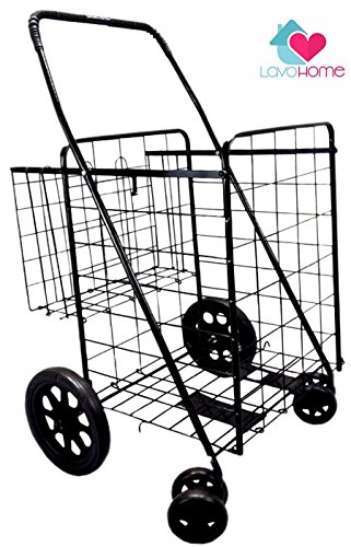 Premium Heavy Duty Metal Folding Shopping Cart with Double Basket - Jumbo Size 150 lb Capacity Black With Spinning Wheels - Make Grocery Shopping Easy (Black)