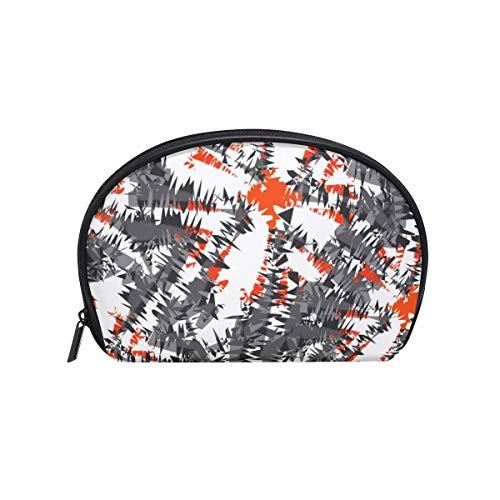 Half Moon Cosmetic Beauty Bag Ikat Charcoal Travel Handy Organizer Makeup Pouch for Women Girls