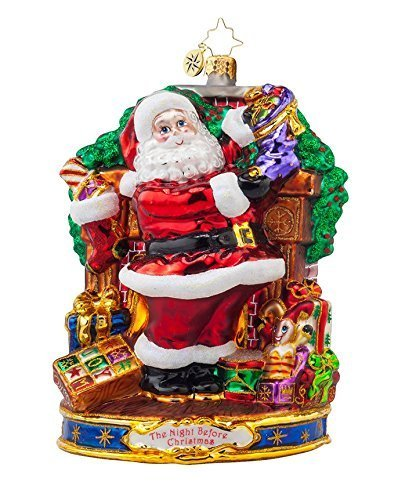 Christopher Radko Glass Straight to Work Santa Christmas Ornament #1017974 by Christopher Radko by Christopher Radko (Image #1)