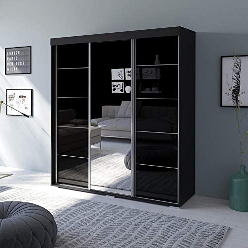MEBLE FURNITURE /& RUGS Aria 3 Door 71 Wide Modern High Gloss Wardrobe Armoire with Mirror Black