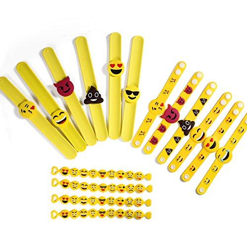 ONEDONE Emoji Bracelet emoji bracelets en caoutchouc, silicone Jouets Party, Bracelets enfants drôle de cadeaux de fête Sac 16 paquet en 3 modèles
