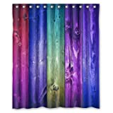 Colorful Wood - Fashion Personalized Bathroom Shower Curtain Waterproof Polyester Fabric 60(w)x72(h) Rings Included