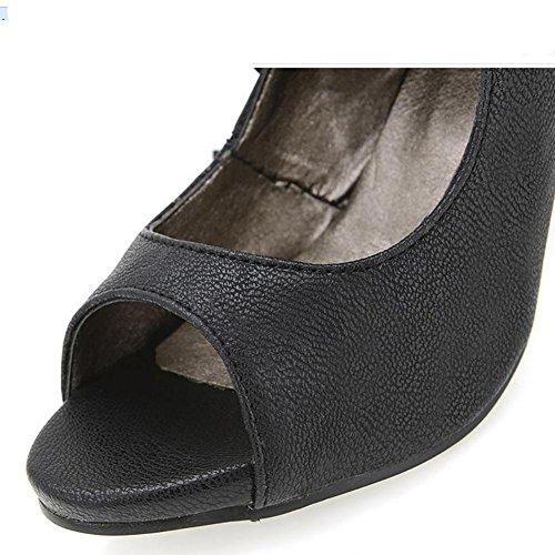 L'Europe en cuir pour femme Fish Mouth Le Frenulum Sandals Pompe étanche , black , 37
