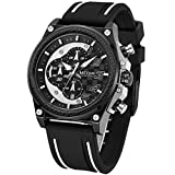 Waterproof Military Watch for Men Analog Calendar Silicone Strap for Business Casual Quartz Watch (black)