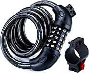 VISCAL Bike Lock, 5-Digit Combination Lock Heavy Duty Chain Lock with Zinc Alloy Lock Cylinder for Bicycle, Gr