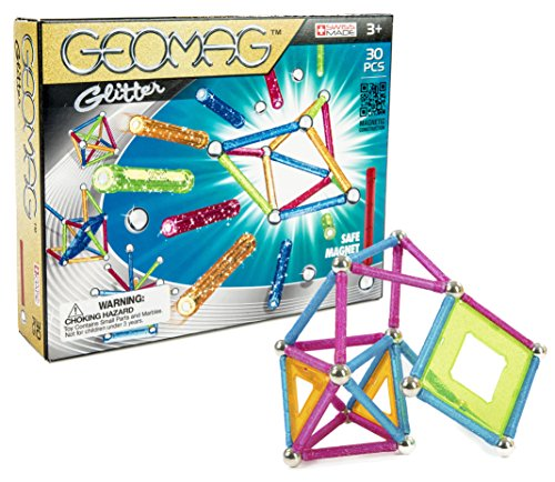 Geomag 30-Piece Glitter Construction Set with Assorted Panel...