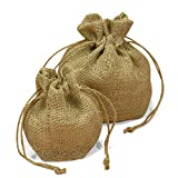 Natural Burlap Round Bottom Bag with Drawstring Top, 4'' x 6'', pack of 10