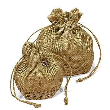 8eb3c5cc89cf Amazon.com: Burlap Drawstring Wedding Favor Bags - Small 4