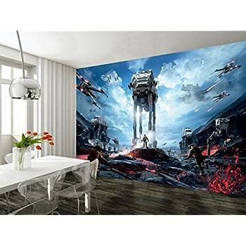 Star Wars Battle Ships Wallpaper Woven Self Adhesive Wall Art Mural Decal M235 Non 7 Stripes