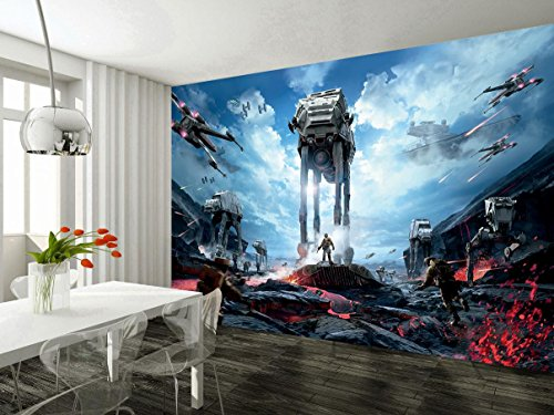 Star Wars Battle Ships Wallpaper Woven Self-Adhesive Wall Art Mural Decal M235, Non Woven 5 Stripes
