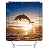 Custom Animal Shower Curtain Mildew Resistant Waterproof Polyester Fabric Bathroom Shower Curtain Set with Hooks Bathroom Accessories Dolphin 66''(w) x 72''(h)