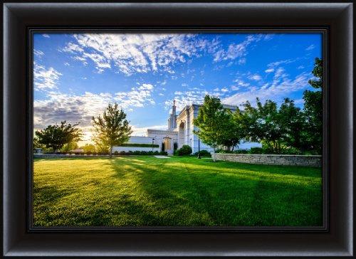 LDS  26.75 x 36.75 Framed Columbia River Temple Sunrise Back