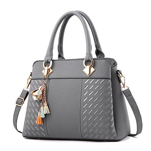 Dcspring Shopper Pu Mujer Moda Para Cuero Hombro Capacidad De Gris Bandolera Gran Elegante Bolso Mano HxgqHZv