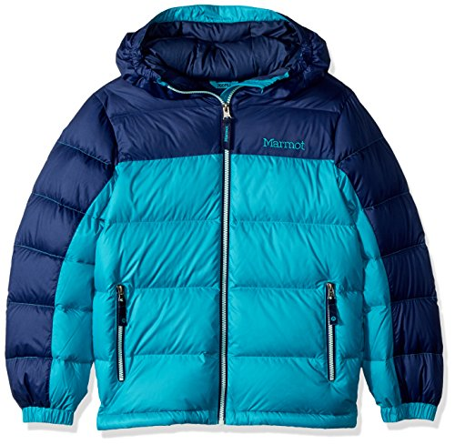 Marmot Girls' Guides Down Hoody, Turquoise/Arctic Navy, Medium by Marmot