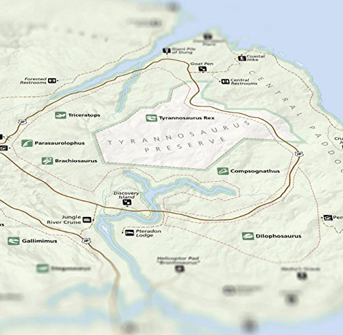 Juric National Park Map 16x20 Poster (Isla Nublar) on azores map, nauru map, isla sorna dinosaur map, antigua map, greenland map, isla pena, guyana map,