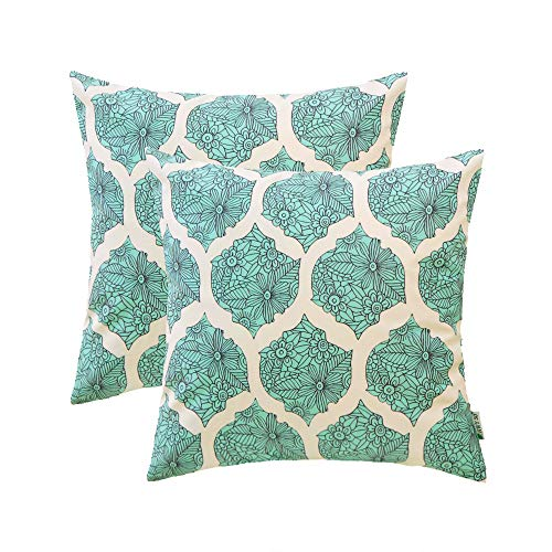 HWY 50 Cozy Throw Pillows Covers Set Cushion Cases for Couch Sofa Bed Aqua Decorative Geometric Floral Print 18 x 18 inch Pack of 2 (Couch Print Floral)