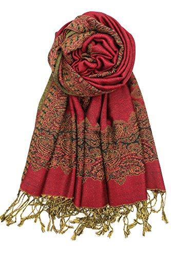 (Achillea Elegant Reversible Paisley Border Pattern Pashmina Shawl Wrap Scarf)