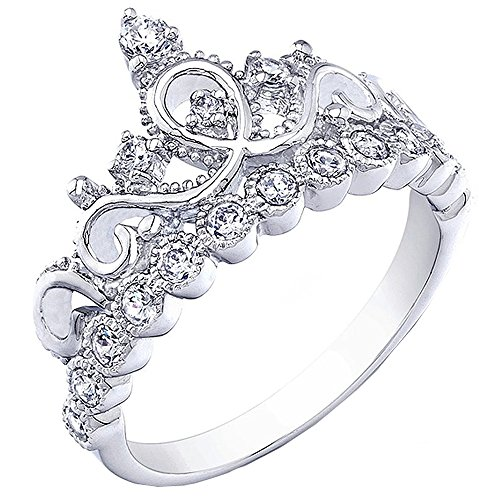 Sterling Silver 925 Crown (925 Sterling Silver Princess Crown Ring, Size 7)
