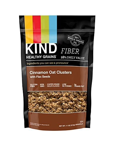 Crunch Granola Cinnamon (KIND Healthy Grains Clusters, Cinnamon Oat with Flax Seeds Granola, 10g Protein, Gluten Free, Non GMO, 11 Ounce Bags, 3 Count)