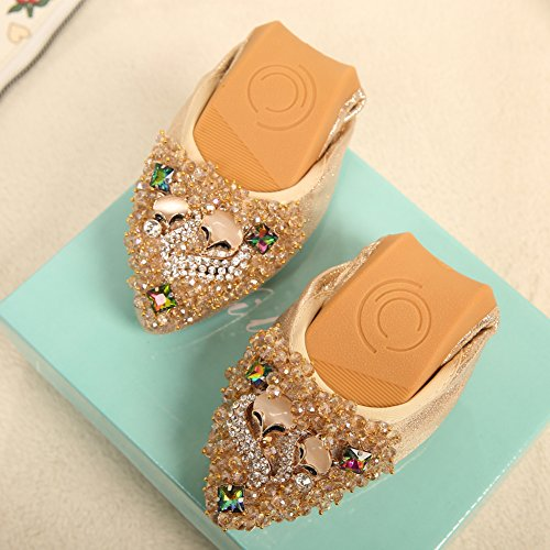 Shoes MAIERNISI Womens JESSI Flats Rhinestone Fox Toe Beads Ballet golden Soft Comfort Pointed Foldable 7r7w5qd