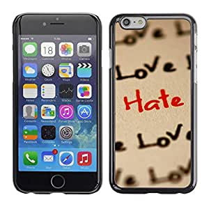 Paccase / SLIM PC / Aliminium Casa Carcasa Funda Case Cover para - Love Hate Pattern - Apple Iphone 6
