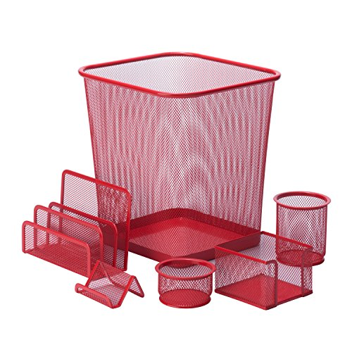- Honey-Can-Do 6-Piece Powder Coated Steel Mesh Desk Set, Red