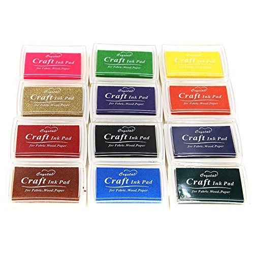 Miraclekoo Craft Ink Pad Stamps Partner Set of 12 DIY Assorted (Color Brights Ink)
