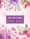 2020-2021 Two Year Planner: 2020-2021 monthly planner full size | Flower Watercolor Cover | 2 Year Calendar 2020-2021 Monthly | 24 Months Agenda ... design (2 year monthly planner 2020-2021)