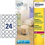 Avery L7780-25 - Pack de 25 folios de etiquetas brillantes, Diámetro 40 mm , Transparentes