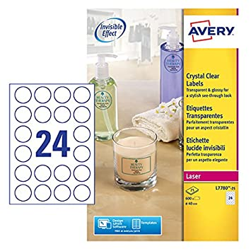 Avery l7780 25 crystal clear round labels for laser printers 40 mm diameter labels