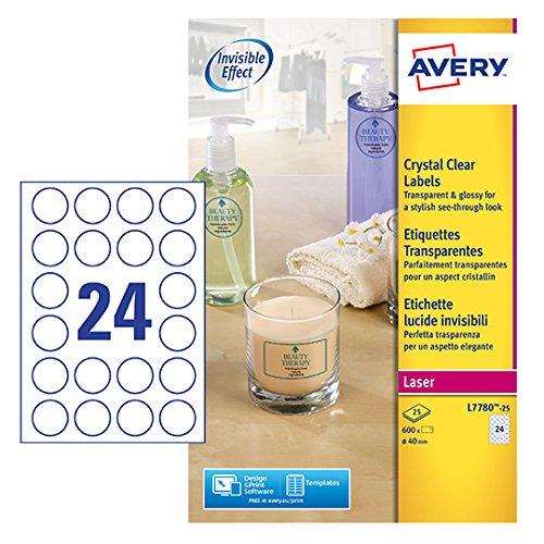 Avery Italia L7630-25 Etichette Rotonde, 12 Pezzi per Foglio, 25 Fogli, Diametro 63.5 mm