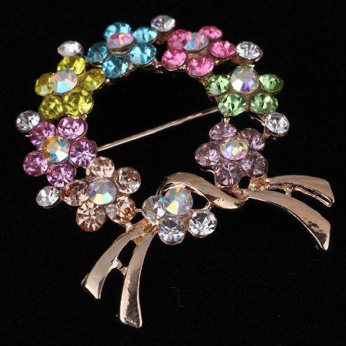 Yazilind bijoux lumineux colores marqueterie de fleurs plaque or Broches en alliage cristal complet et Pins