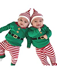 Perman 3PCS Newborn Baby Girls Boys Christmas Romper+Pants+Hat Outfits Set